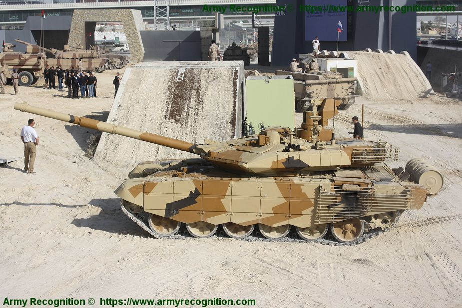 136b390cd491 Russian-made T-90MS main battle tank in live demonstration at edition 2013  of IDEX defense exhibition in Abu Dhabi
