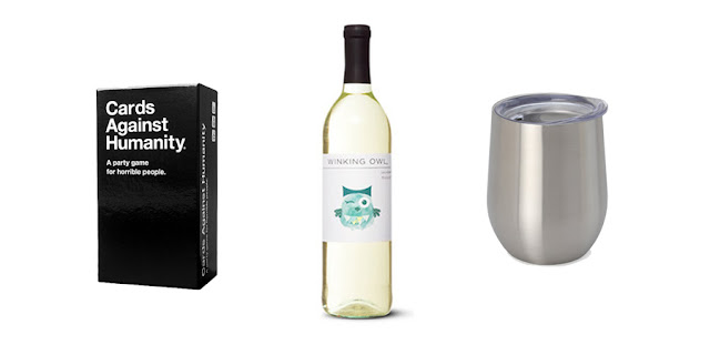 Cards Against Humanity, Winking Owl Moscato, Travel Wine Glass, College Blogger, Lifestyle Blogger
