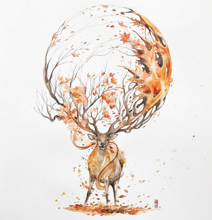 04-Autumn-Luqman Reza jongkie-Painting-Fantasy-worlds-with-Flowing-Watercolor-Animals-www-designstack-co