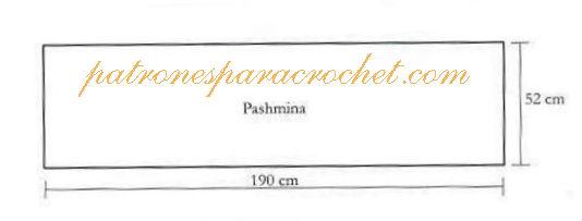 molde de pashmina tejida al crochet