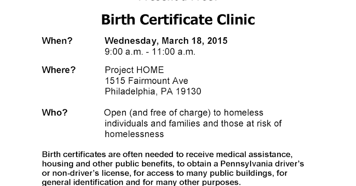 Birth Certificate Clinic