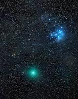 Kometa 46P/Wirtanen, zdjęcie z 16.12.2018 r. Credits: Michael Jäger. Turmkogel Austria Tele 135 mm/3.4 CCD, eksp. RGB 360/360/360 + L 4x5 sek., suma łączna 38 minut