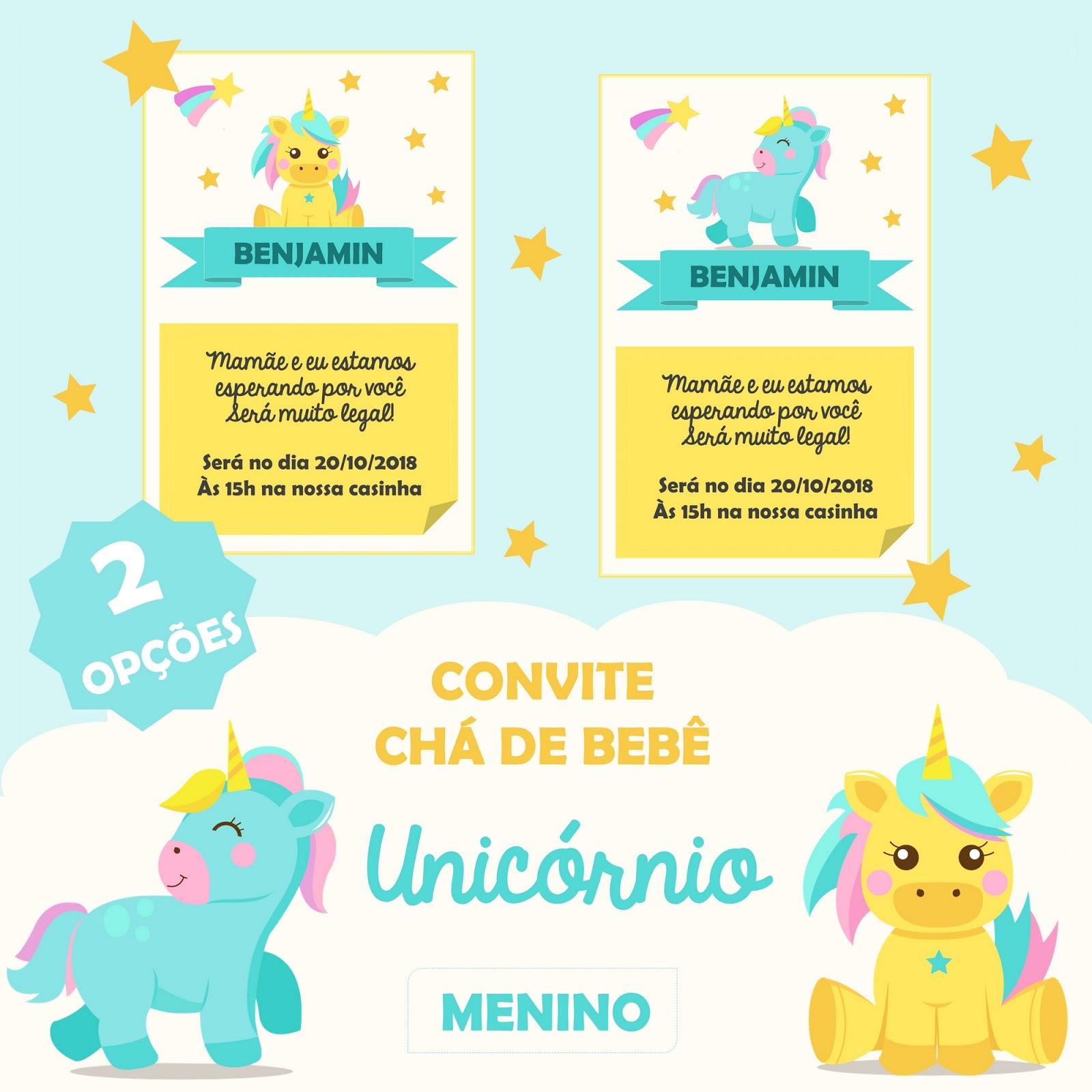 Freebie Convite Chá De Bebê Unicórnio Menino E Menina Editável 4