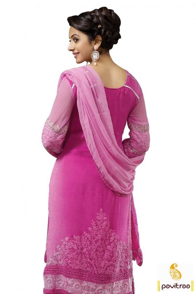 Rakul Preet Singh In Pink Embroidery Salwar Suit