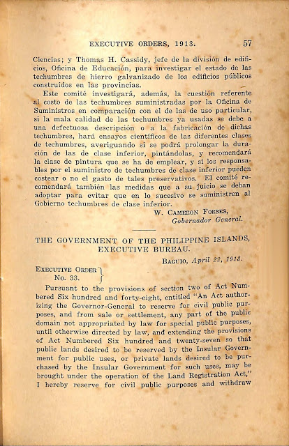 Executive Order No. 33 series of 1913, English version.