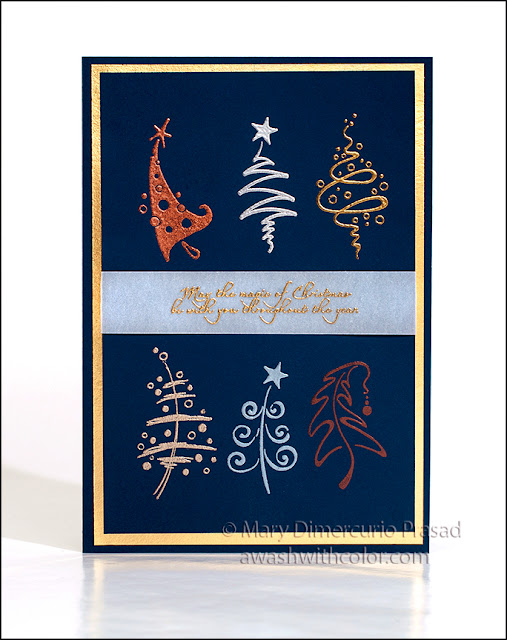 Rubbernecker Stamps Elegant Christmas Card with Embossing by Ranger