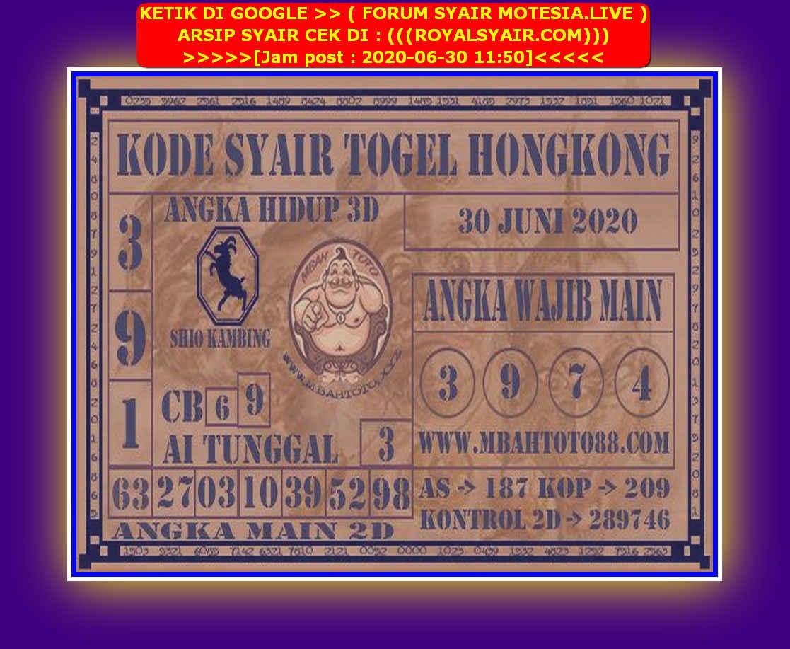 Kode syair Hongkong Selasa 30 Juni 2020 209