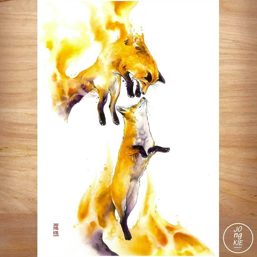 10-Fire-Foxes-LR-Mulyono-Watercolor-Paintings-www-designstack-co