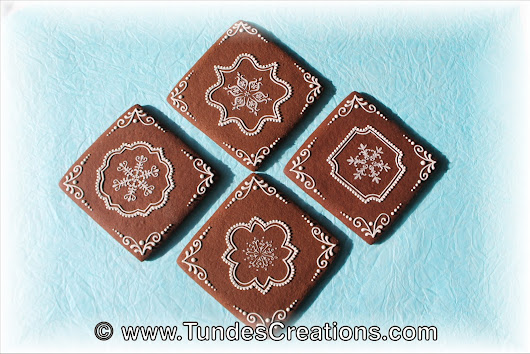 Chocolate squares with snowflakes - inspired by friends