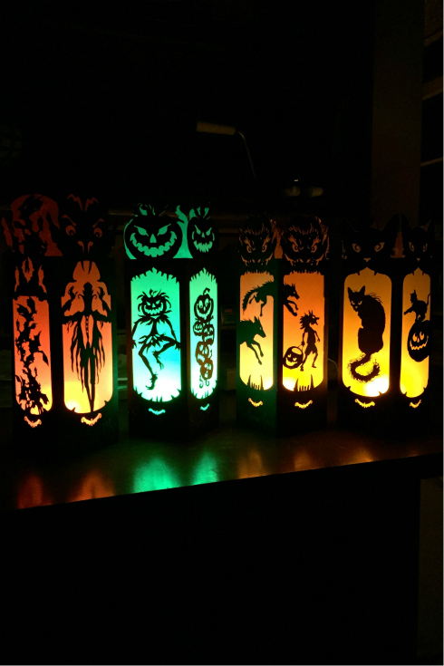 Spooky Halloween laser cut card stock luminaries