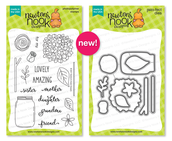 Lovely Blooms | Flowers and Jar Stamp Set by Newton's Nook Designs #newtonsnook