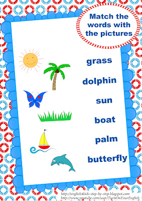 summer song worksheet matching pictures and words