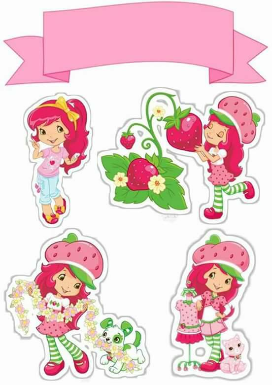 Fabulous Strawberry Shortcake Free Printable Cake Toppers Oh My Fiesta Funny Birthday Cards Online Elaedamsfinfo