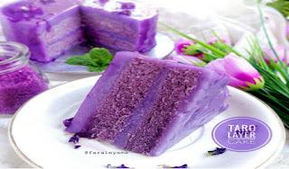 Resep Membuat  Taro Layer Cake yang Enak dan Lezat Warna nya pun Unyu Unyu Banget