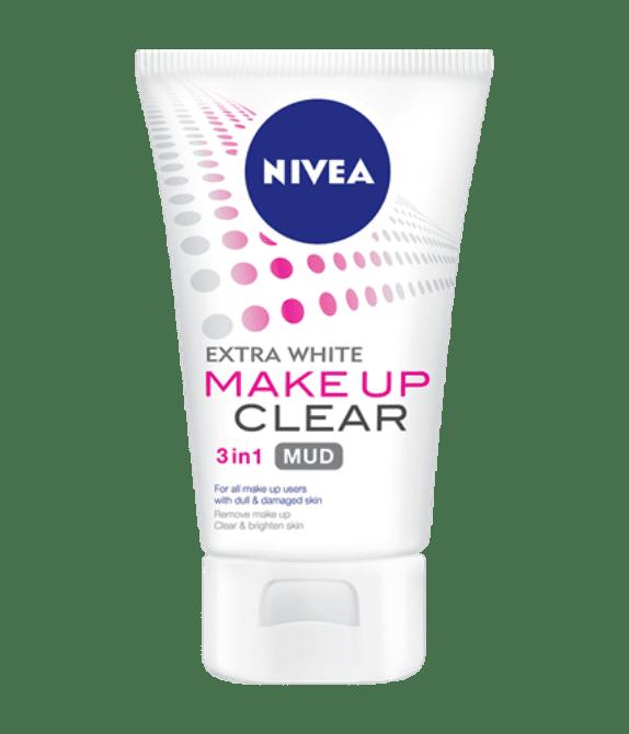 Pencuci Nivea extra white make up clear 3 in1 mud foam