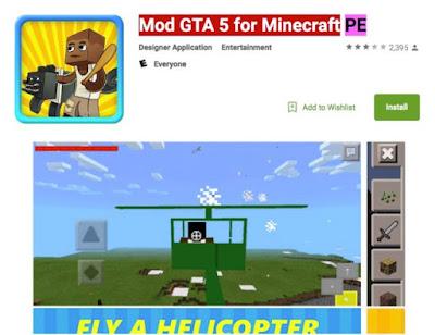 Aplicación Mod GTA 5 Minecraft PE que ha sido descargada entre 100.000 y 500.000 veces