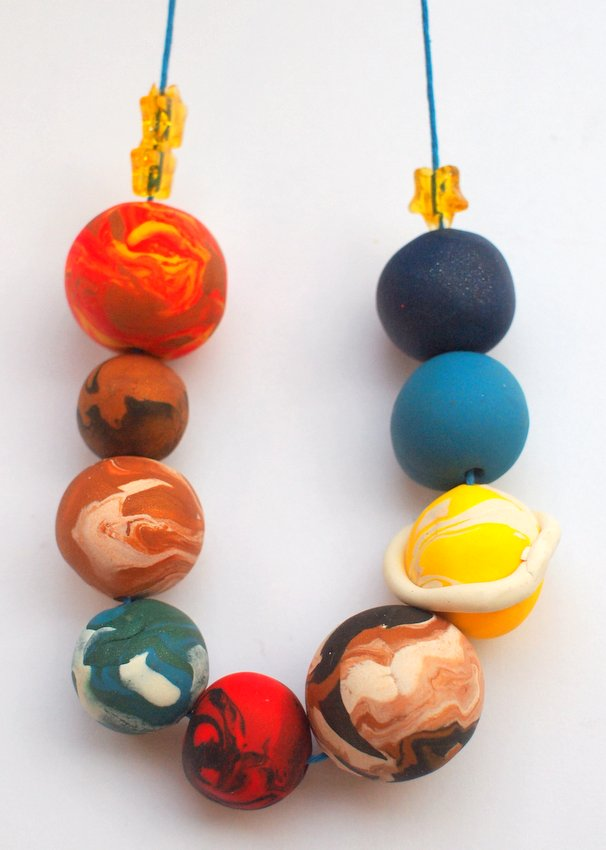 How to Make Clay Planet and Galaxy outer Space Jewelry with Kids