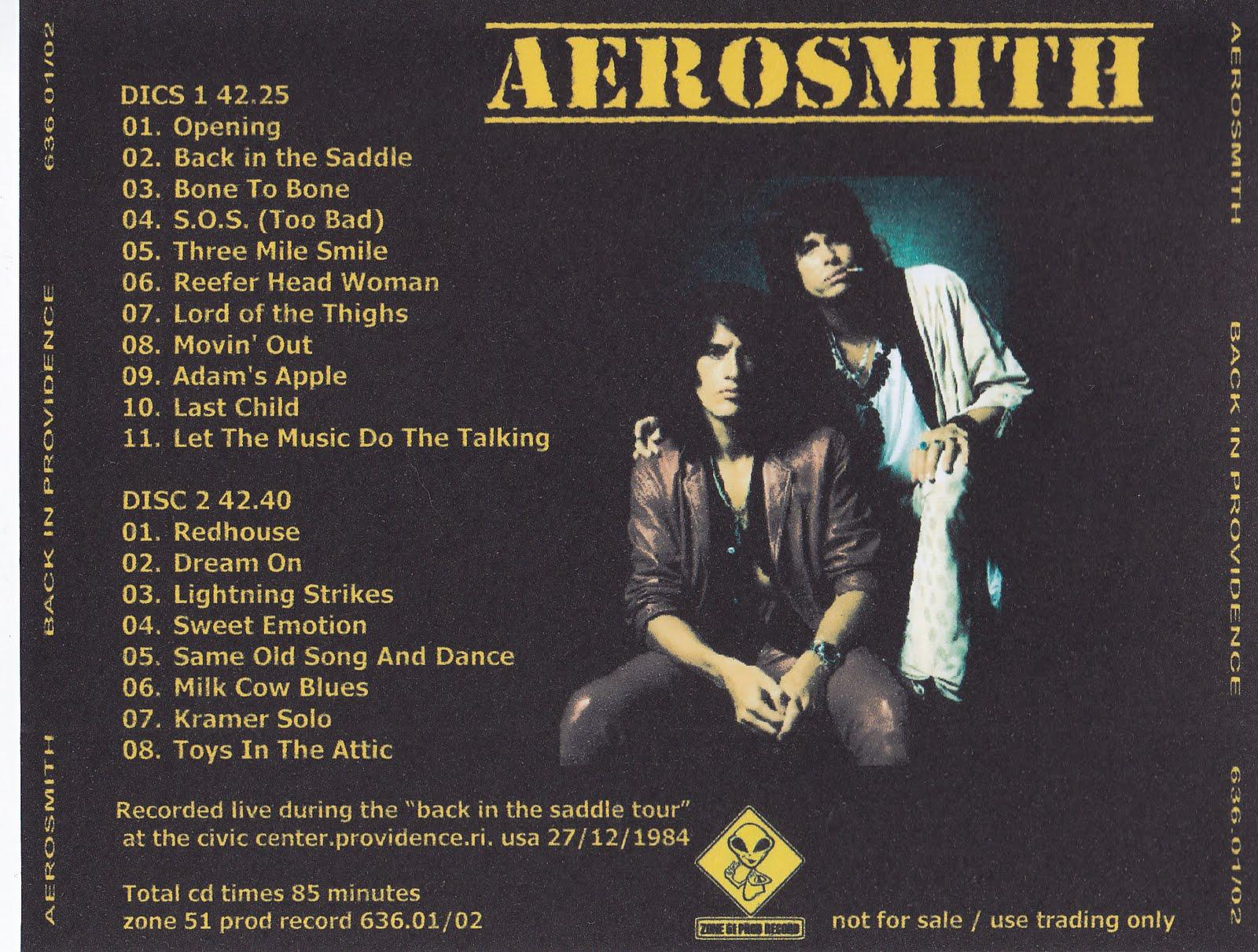 Aerosmith Bootlegs Cover Arts Back In Providence 84
