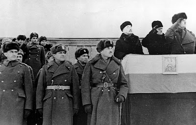 General Anders and General Sikorski at reviewing stand inspecting Polish troops in USSR 1941