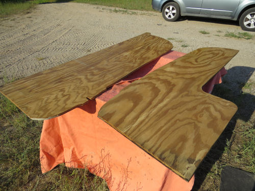 polyurethaned plywood walls