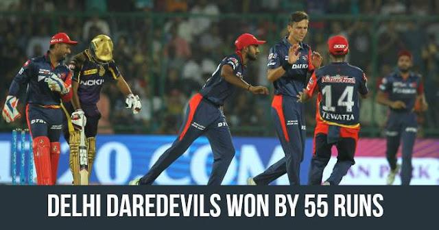 Delhi Daredevils won by 55 runs