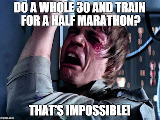 Star Wars Luke Skywalker thinks running while doing the healthy Whole 30 is impossible.