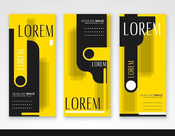 Leaflet templates elegant black yellow modern abstract decor Free vector