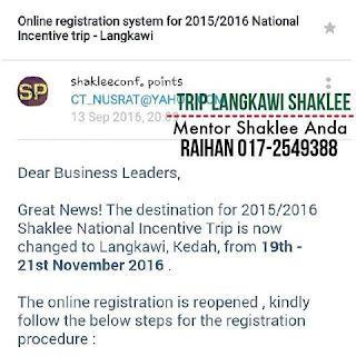 Free Trip Shaklee Langkawi
