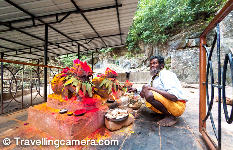 On the discovery of the Borra caves, there are several legends, which the tribals narrate. There are various tribal around the caves - Jatapu, Porja, Kondadora, Nookadora, valmiki etc. The popular legend is that a cow, grazing on the top of the caves, dropped 60 meters through a hole in the roof. The cowherd while searching for the cow came across the caves. He found a stone inside the cave that resembled a Lingam, which he interpreted as the Lord Shiva who protected the cow. The village folks who heard the story believed it and since then they have built a small temple for Lord Shiva outside the cave. People flock to the temple for worship and the cave to get a glimpse of the Lingam. This in itself deserves a separate post.