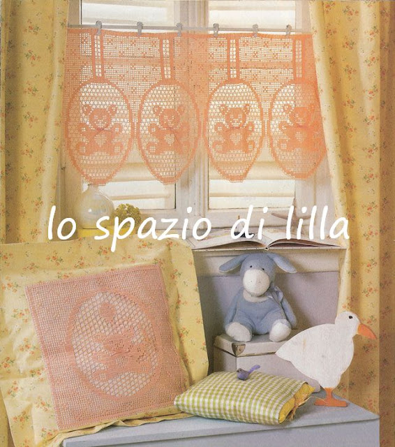 Lo spazio di lilla schemi di orsetti a filet per le for Lo spazio di lilla copertine neonato