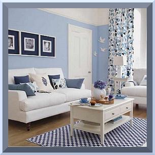 Desain Ruang Tamu Biru Muda