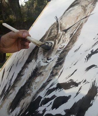 Diego Ortega Alonso pintando al lince ibérico en su Primer Día Internacional. Parque Natural Sierra de Andújar