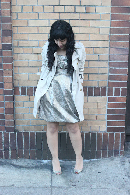 DVF Dress and Trench Coat New Year's Eve Holiday Outfit Inspiration | Will Bake for Shoes