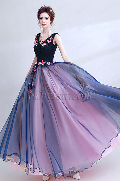 blue v cut A-line prom ball dress