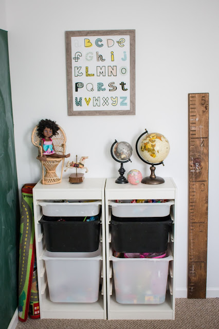 toy storage in a small playroom using the ikea trofast