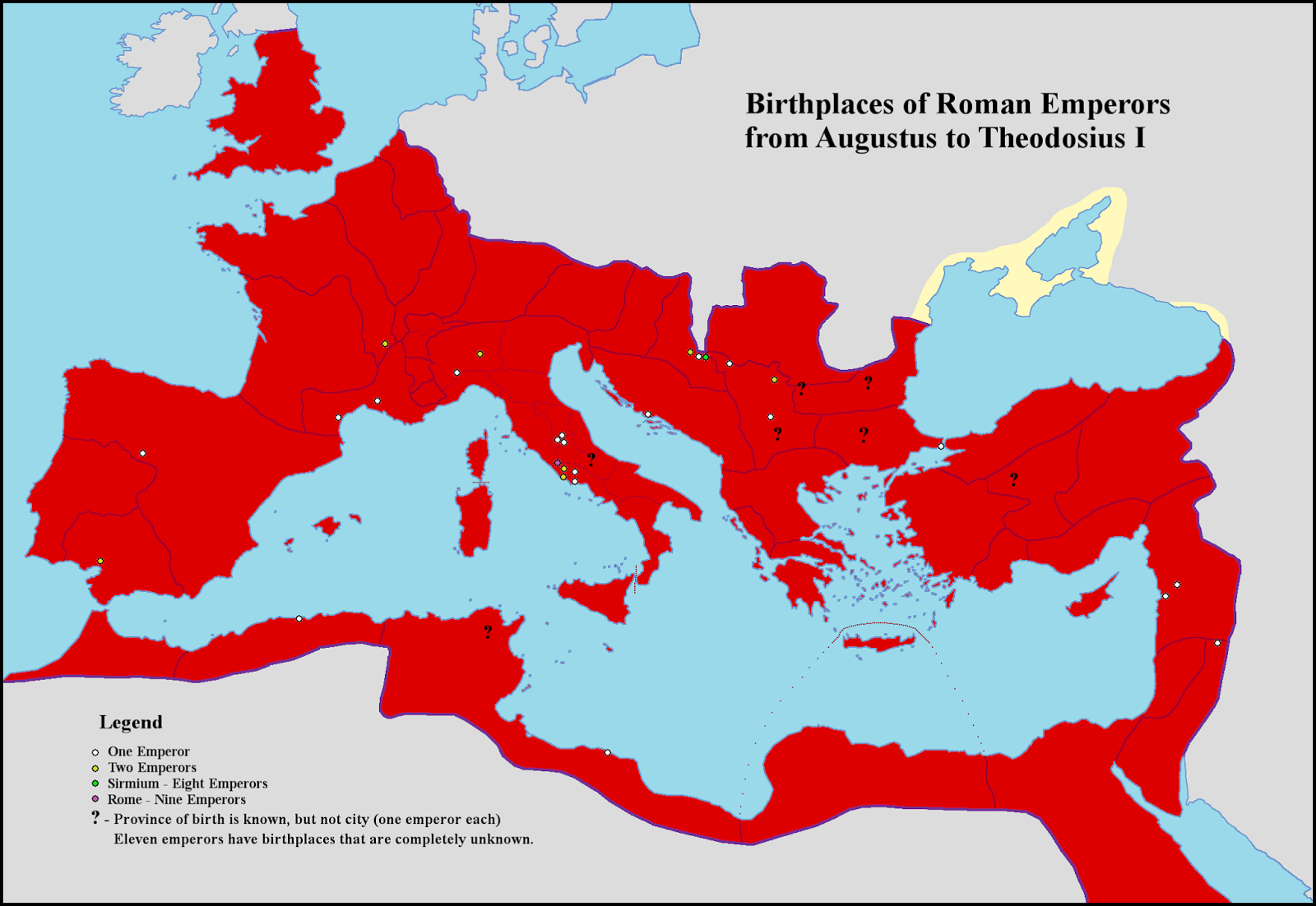 Birthplaces of Roman Emperors from Augustus to Theodosius I