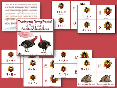 Don't be a turkey! My students LOVE this turkey themed game for practicing the +9 trick! There's a freebie so you can try it out!