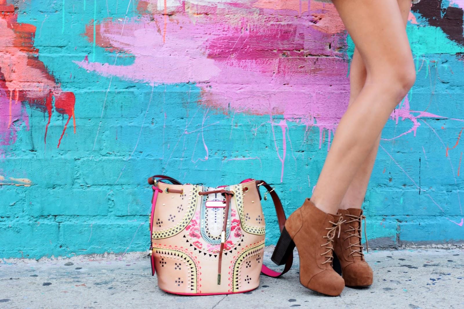 Bucket bag, nicole lee, nicole lee usa, bohemian, boho chic, lace dress, gold cardigan, arts district