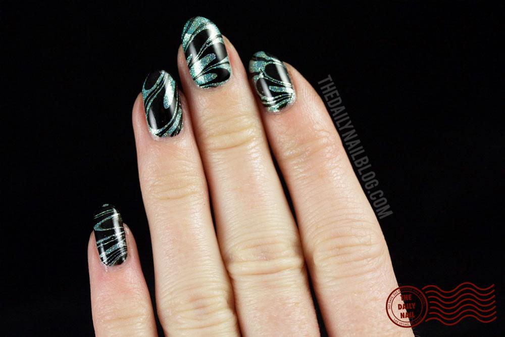 nail art, watermarble, athena, the daily nail