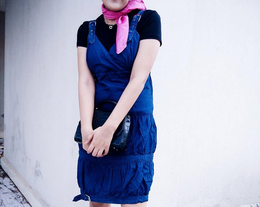 black Top, denim Dress, Zara Bag,pink Scarf Diy,fashion blogger