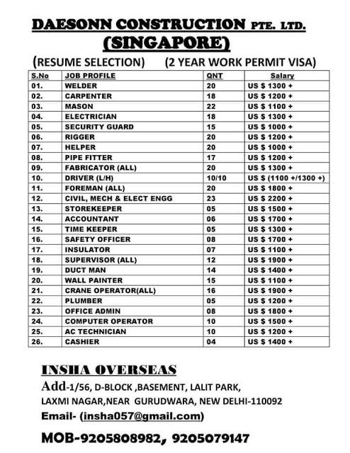 Daesonn Construction Pte  Ltd - Resume Selection - Singapore