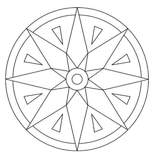 Tranh tô màu hình tròn trang trí họa tiết đơn giản