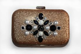 Clutch joya, bolso de fiesta  dorado con pedrería para boda