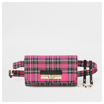 River Island Pink Plaid Bum Bag