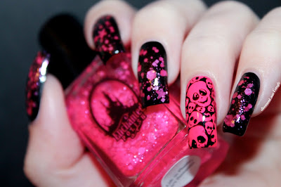 Black and Pink Skulls Nail Art