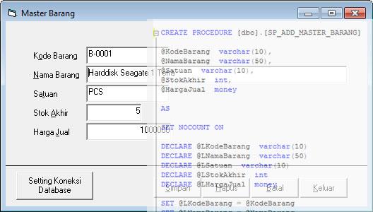 Menggunakan Stored Procedure SQL Server dengan VB6