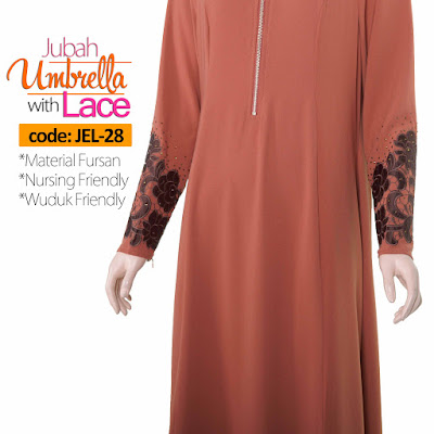 Jubah Umbrella Lace JEL-28 Persian Brown Depan 12