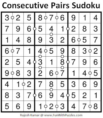 Consecutive Pairs Sudoku (Daily Sudoku League #183) Solution