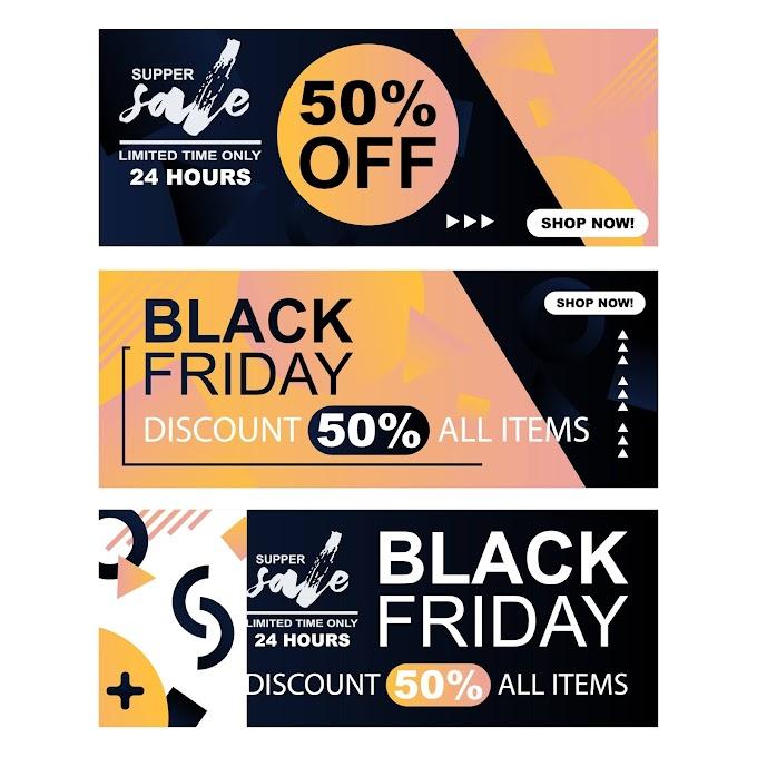 Sales banner templates abstract dark flat decor Free vector