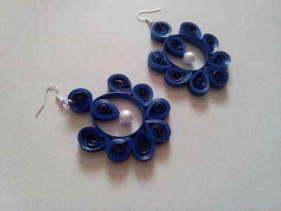 Dark blue quilling paper earring designs for kids - quillingpaperdesigns